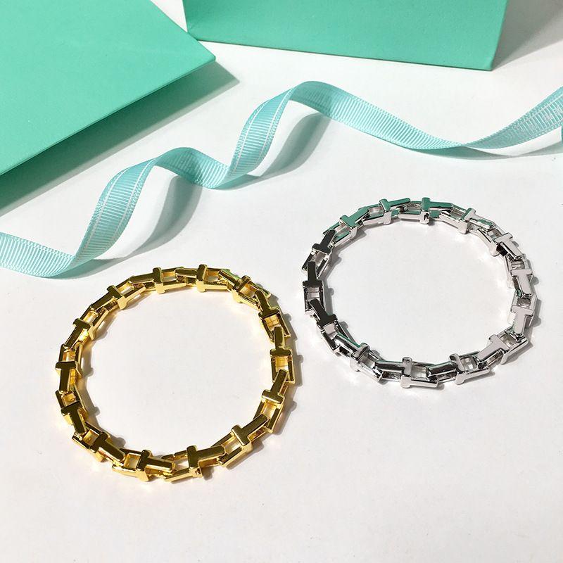 Trendy Semplice liscia a forma di T Chain vuota biciclette marea metallo uomini e le donne rosa braceletbangle oro argento per la donna