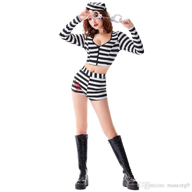 Frauen entflohener Häftling Kostüm Prisoner Jumpsuit Streifen Gefängnis-Insasse Halloween Cosplay Kostüme Unisex Gefängnis Verbrecher verkleiden