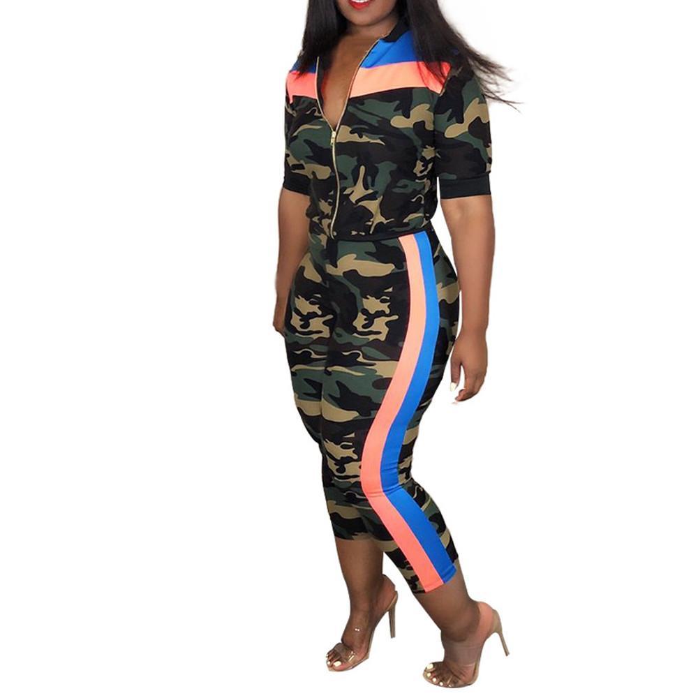 Summer Women Clothing Set Zipper Camouflage Stripe Tops half sleeve Loose Coat+Camisole Long Pants 3 Pcs Outfit Set