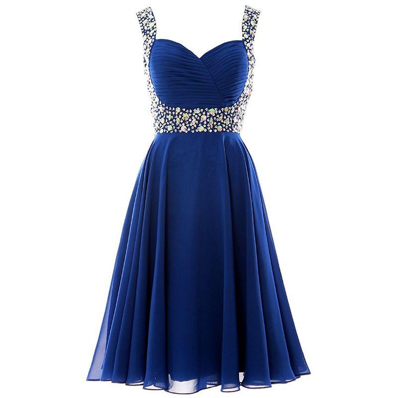 골치 아픈 건 쉬폰 동창회 드레스 2020 스파게티 스트랩 파티 드레스 짧은 무도회 드레스 퍼플 로얄 블루 블랙