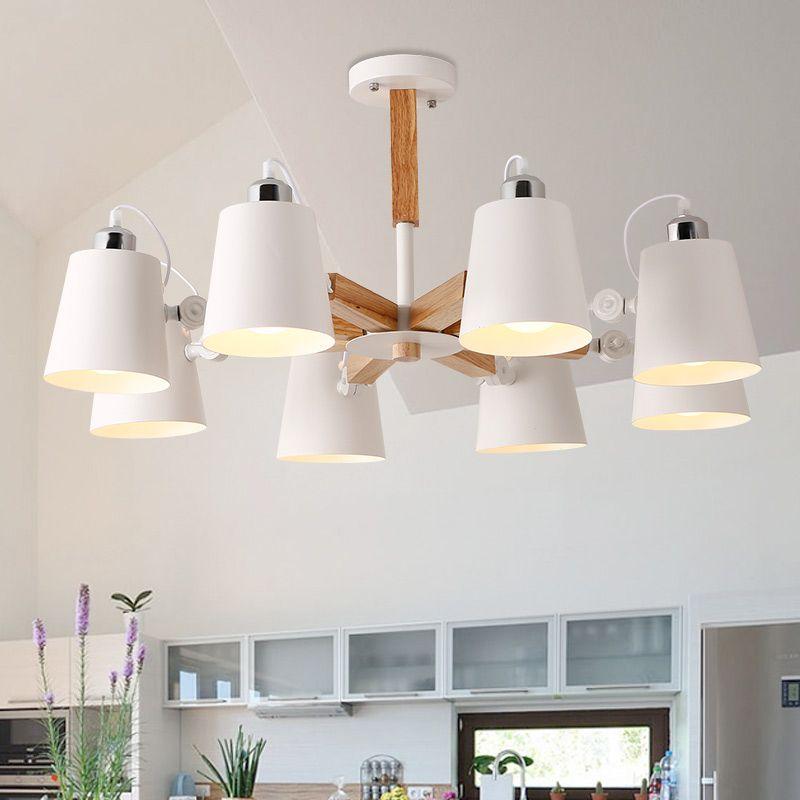 Acheter Mode Colore Moderne Plafonniers En Bois Lamparas Design