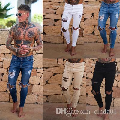 Pantalones vaqueros rasgados para hombre Pantalones pitillo ajustados ajustados para hombre Pantalones casuales de hip hop con agujeros