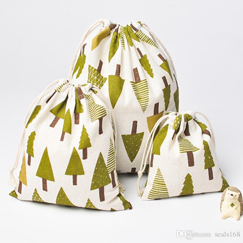 حقائب DHL شجرة عيد الميلاد هدية حقيبة النقي الكتان قماش من القطن الرباط كيس مع عيد الميلاد سنو شجرة الصنوبر للحصول على هدايا عيد الميلاد الحلوى زينة HH7-1297