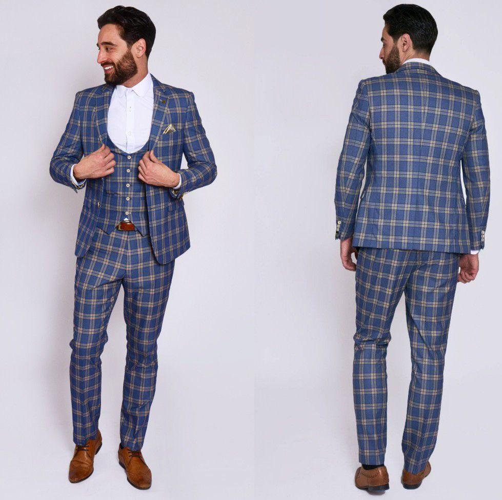 Custom Made men suits three pieces Mens Prom Tuxedos Suits Latest Vest Jacket Pants Design Slim Fit Tailor Blazer(Jacket+Pants+Vest)