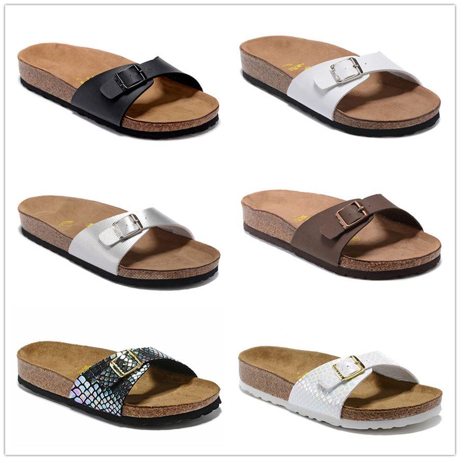 2020 Madrid 2019 Nueva Cork verano de la playa del deslizador de las chancletas de mujeres de las sandalias color mixto, Zapatos Diapositivas plano ocasional 801 de envío gratuito US3-10