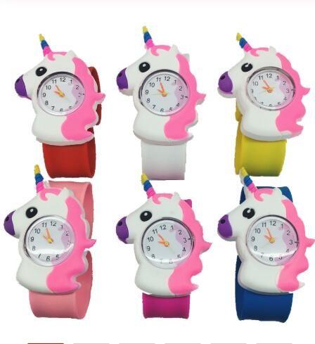 Çocuklar Unicorn İzle 3D Karikatür Unicorn Kuvars saatler Silikon Band tokat İzle Çocuklar hediye doğum günü GGA3414 saatler