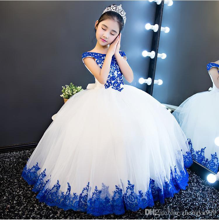 Lange Prinzessin Cinderella Blumenmädchenkleider aus der Schulter bodenlangen Ballkleid Blue Kids Pageant Gowns Neuestes Design Maß