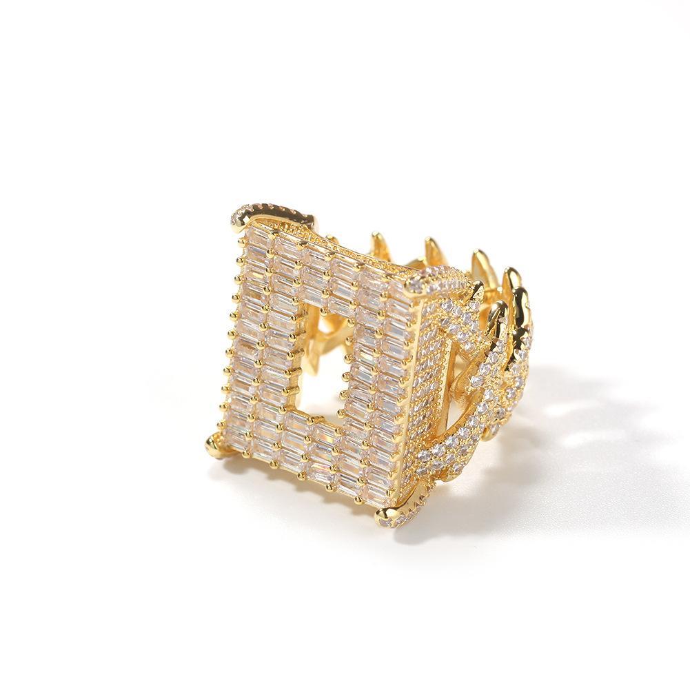 Homens Mulheres Anéis de ouro prata Cores Ice Fora Bling CZ Tennis Anel homens para mulheres por Hip Hop Anel Jóias