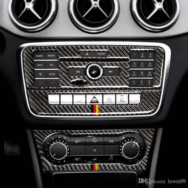 탄소 섬유 CD 에어컨 컨트롤 패널 자동차 스티커 벤츠 W169 W245 W117 W156에의 Class B 클래스 CLA GLA에 대 한 표지