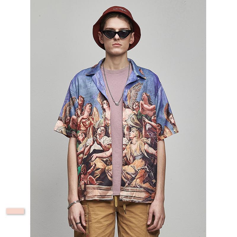빈티지 그림 하라주쿠 힙합 셔츠 남성 문자 인쇄 대형 스트리트 셔츠 짧은 소매의 버튼 남성을위한 UP 블라우스