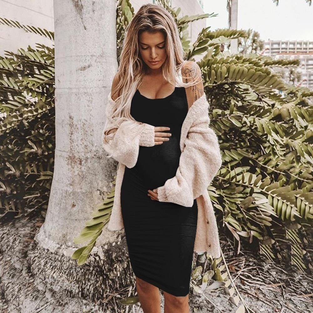 Summer New Brand Women Pregnancy Maternity Props Solid Bodycon Vest Midi Dress Sleeveless Clothes High Quality Women Short Dress Styles Dresses From Inoecom2 12 63 Dhgate Com