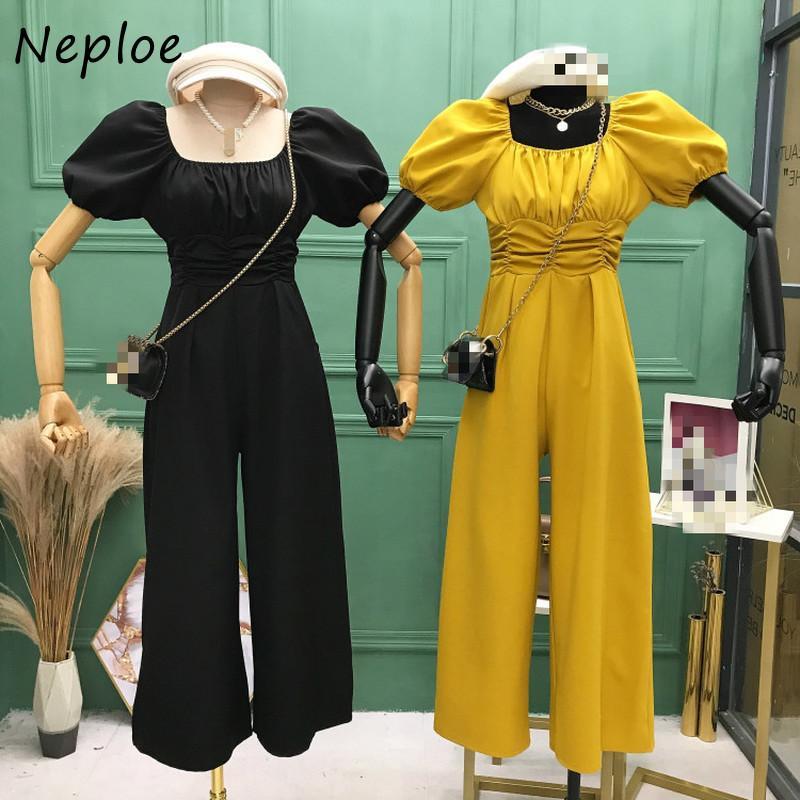 Neploe 2020 Yeni Tulum Kadınlar Zarif Kare Yaka Puff Kol Yüksek Bel Geniş Bacak playsuits Moda Romper tulumları 1E106