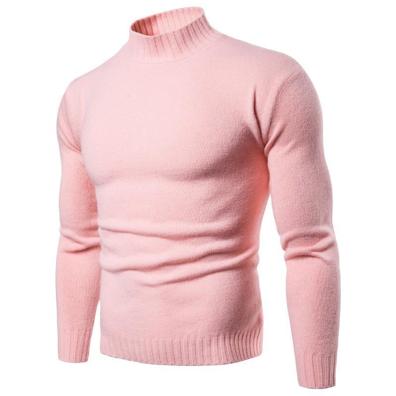 2019 Solid-maglia Nuovo Autunno Mens maglioni a collo alto Casual Male dell'uomo Slim marchio di abbigliamento per il tempo libero Maglione Tops S-XXL