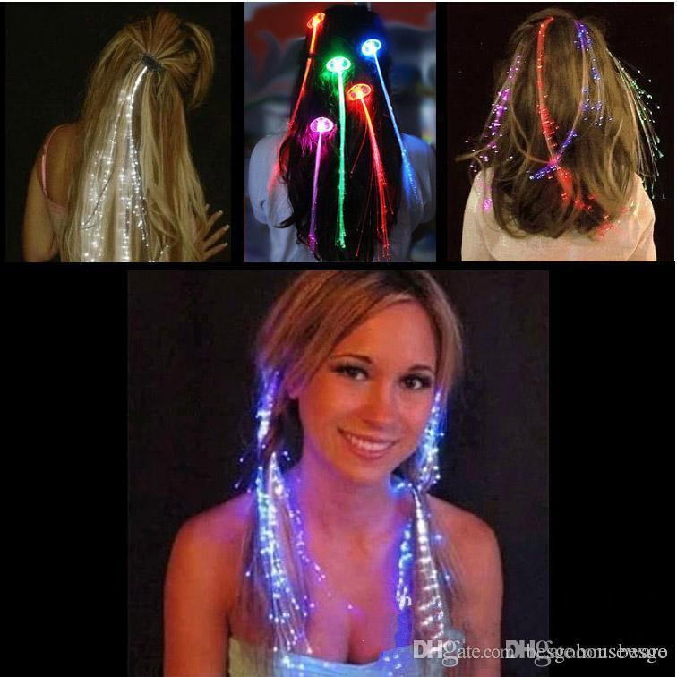 LED Flash Braid Women Colorful Luminous Hair Clips Barrette Fiber Hairpin Light Up Party Bar Night Xmas Toys Decor BH0324