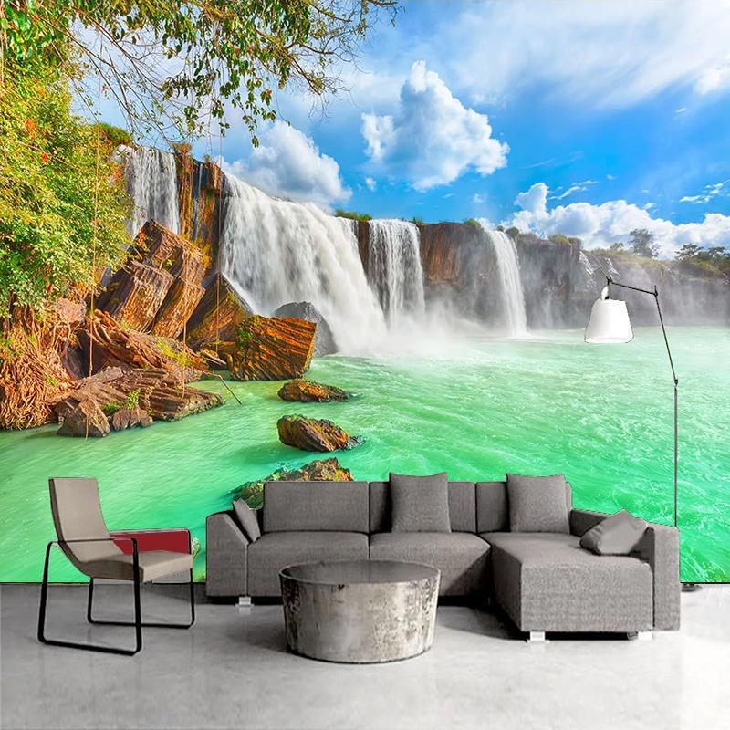 Dropship Custom 3D Photo Wallpaper Blue Sky White Clouds Waterfall Landscape Wall Painting Living Room Study Room Bedroom Mural De Parede
