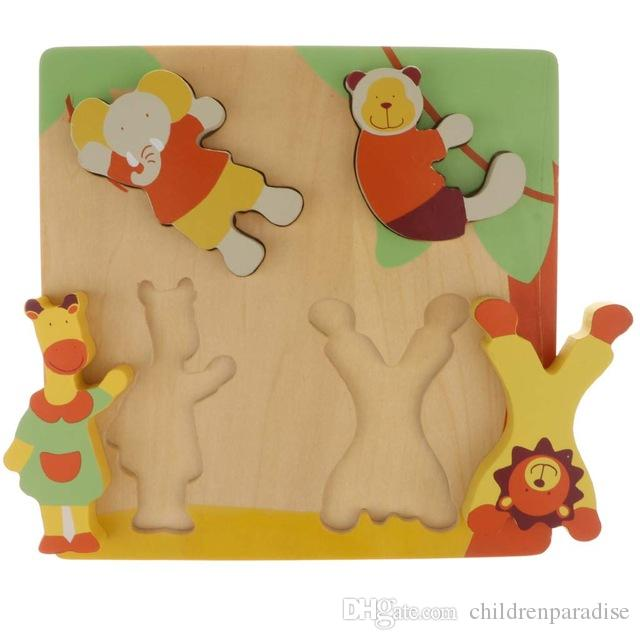 Wooden Animal Jigsaw Puzzle Matching Game Montessori Early Learning Educational Toys Birthday Gift for Children Toddler Kids