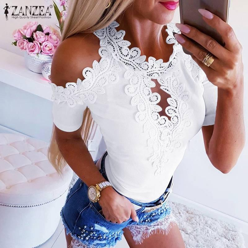 Sexy Women Lace Crochet Blouse ZANZEA Summer Off Shoulder Short Sleeve Tops Hollow Out Slim Blusas Femme Casual Patchwork Shirts