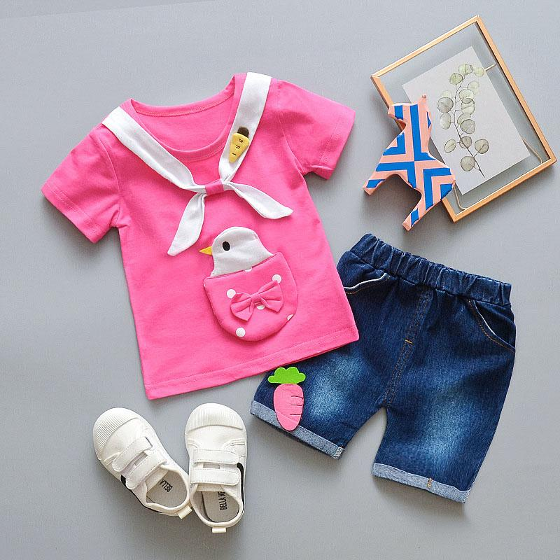 Girls summer clothing sets children fashion cotton t-shirt+short pants 2pcs sports suits for baby girls kids cartoon tracksuits