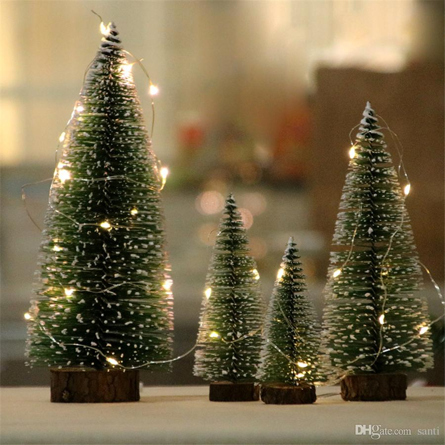 Mini Christmas Tree Small Cedar Desktop Ornament With Led Lights Artificial Small Pine Tree For New Year Home Decoration JK1910