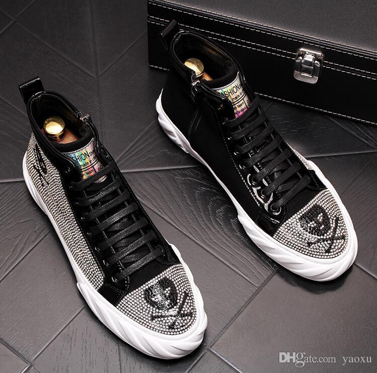 Hommes luxe designer Graffiti pirate crâne strass haut chaussures Causal Appartements Mocassins Mâle Rock Hip Hop chaussures Pour Homme da014