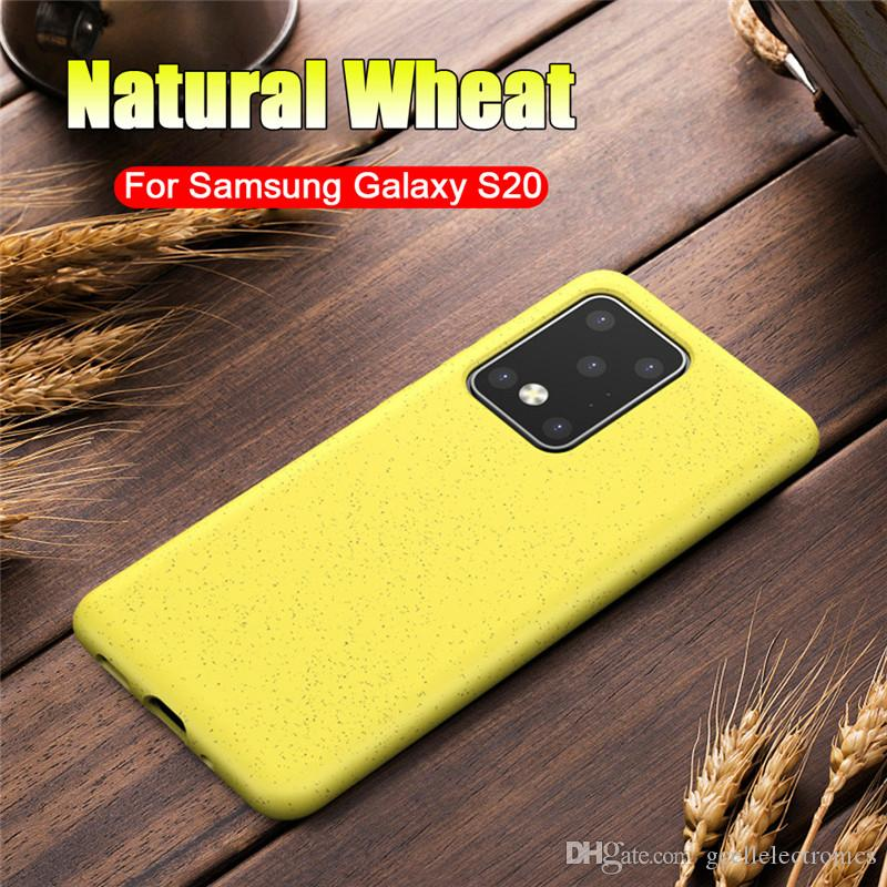Eco-friendly Wheat Straw Design TPU Cell Phone Cases For Samsung Galaxy Note 20 Ultra S20 Plus Iphone SE 11 Pro Recyle Mobile Case