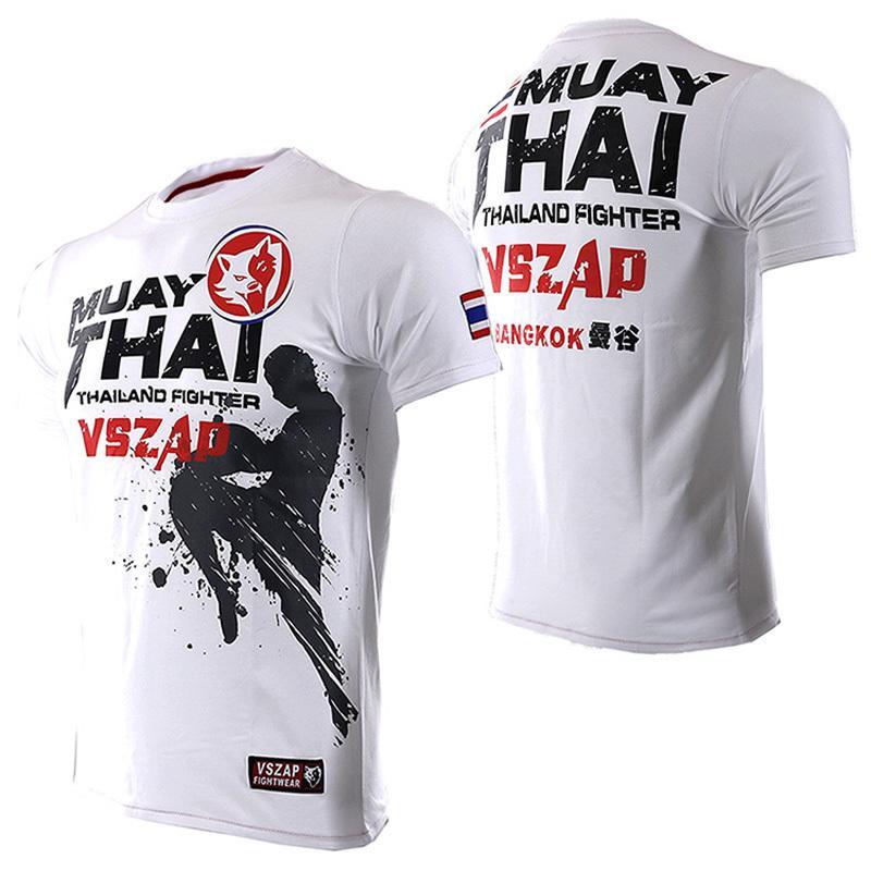 الرجال الزى Vszap صيف جديد الملاكمة التايلاندية الإذاعة ساندا القتال تي شيرت القطن مرونة Ufc القتال تي شيرت Mma Homme 4 اللون Y190509