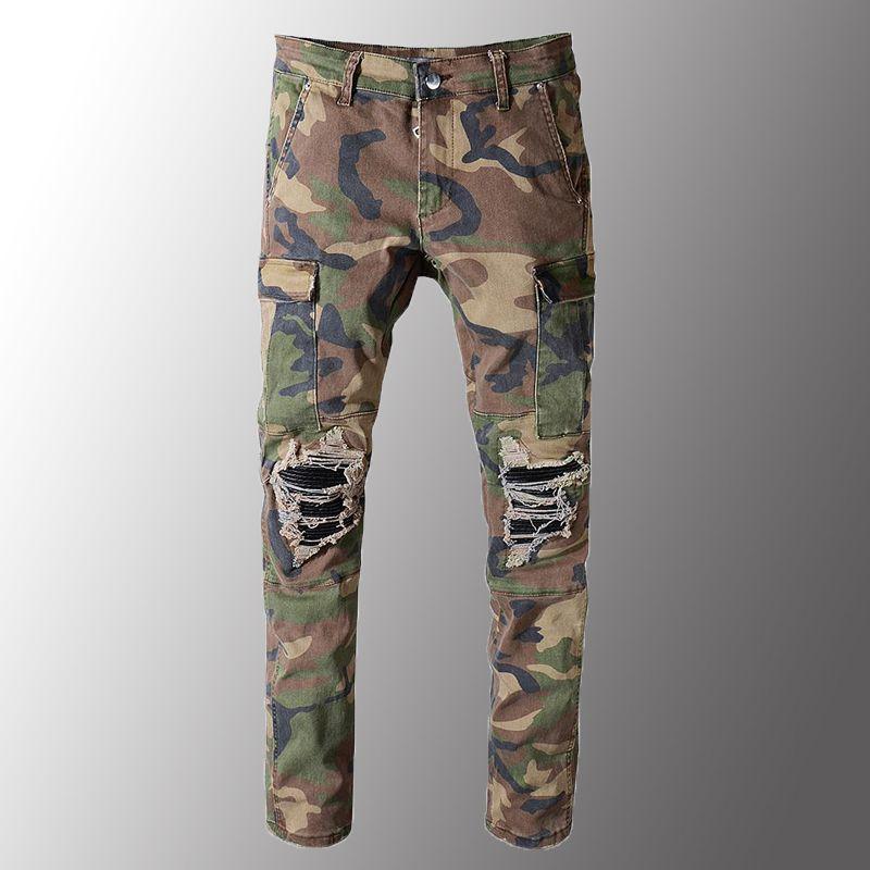 Imprimé camouflage Minglu Hommes Patchwork Biker Jeans pour Moto Slim Straight Fit Army Green Poches Pantalon cargo en denim