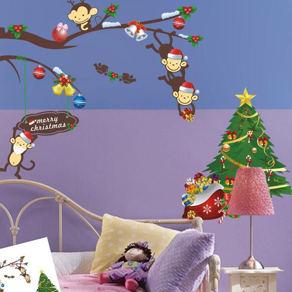 Xmas-Wand-Aufkleber Big Nose Reindeer Schaufenster Glasdekor Frohe Weihnachten Dekorationen für Home Festival Wandwand-Aufkleber