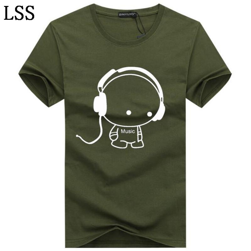 Men's T-Shirts Size 5XL Summer Long line headset cartoon printing t shirts men Casual short-sleeved tee Shirts men HC-7