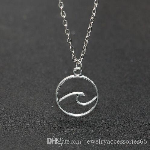 20 teile / los welle halskette charme anhänger strand surfer schmuck für frauen ozean welle charme choker halsketten kragen