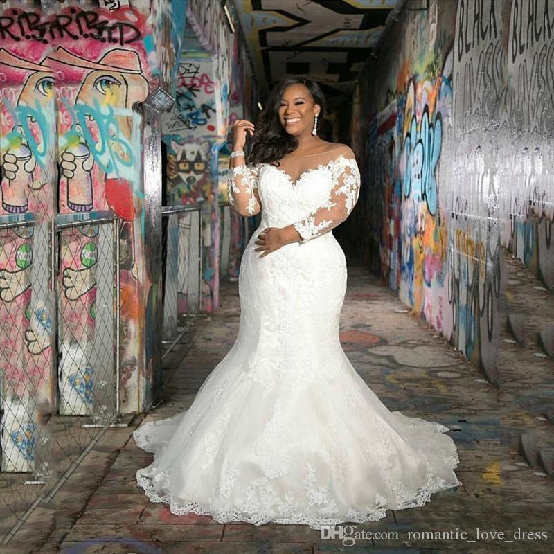 Más tamaño vestidos de novia de sirena de África 2020 Nueva barrer de tren apliques 3/4 manga larga escarpada del cordón Vestidos de novia Vestido de novia W204