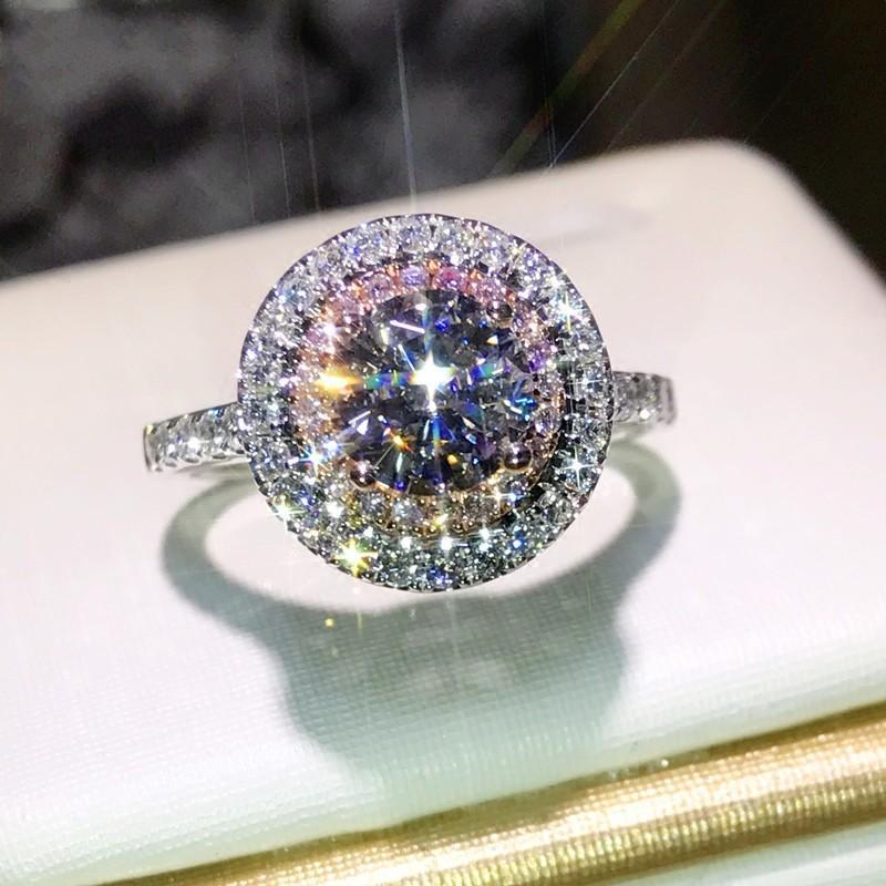 2020 donne anelli di nozze moda moda taglio rosa bianco cz diamante gemma diamante anelli di fidanzamento per le donne gioielli