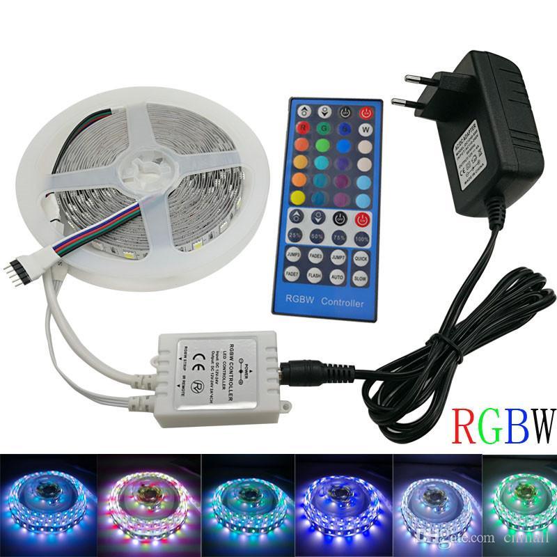Сид SMD 5050 60leds/м 5м 10м Сид RGBW RGBWW RGB светодиодные полосы освещения Светодиодные ленты, диодные ленты беспроводной контроллер DC адаптер 12V светодиодные ленты комплект