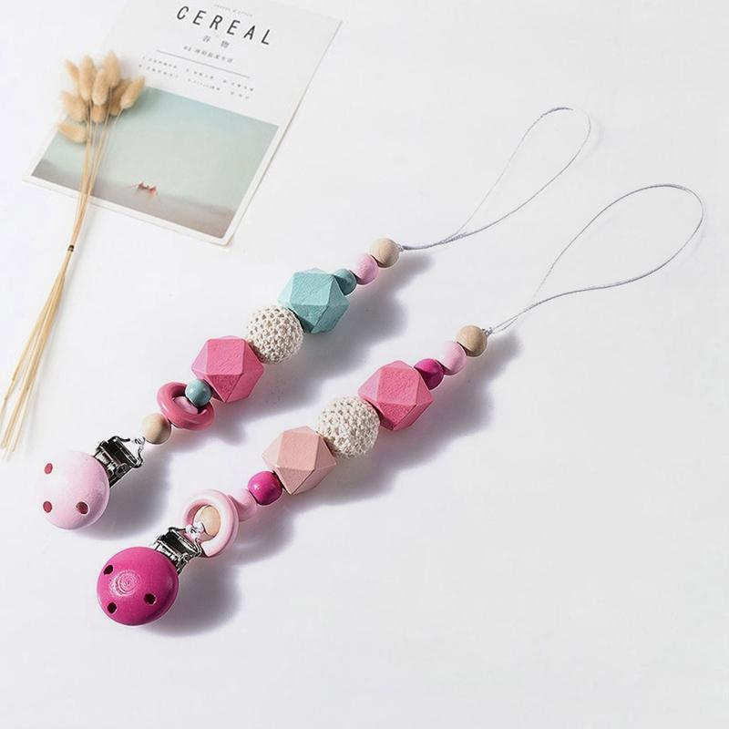 New Wood Silicone Beads Baby Pacifier Clips Chain For Nipple Toys Pacifier Anti-Drop Chain Holder Baby Shower Gift