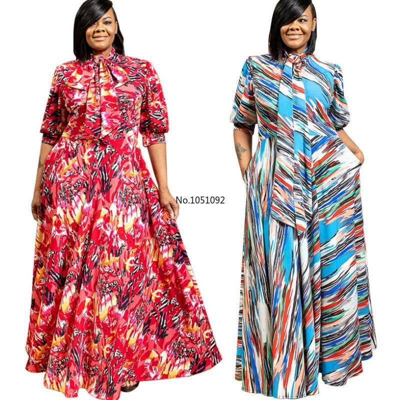 2020 Summer Women Elegant Plus Size Wave Print Bow Neck Beach Boho Maxi Dress Office Lady Sexy Club Party Long Dresses Vestidos