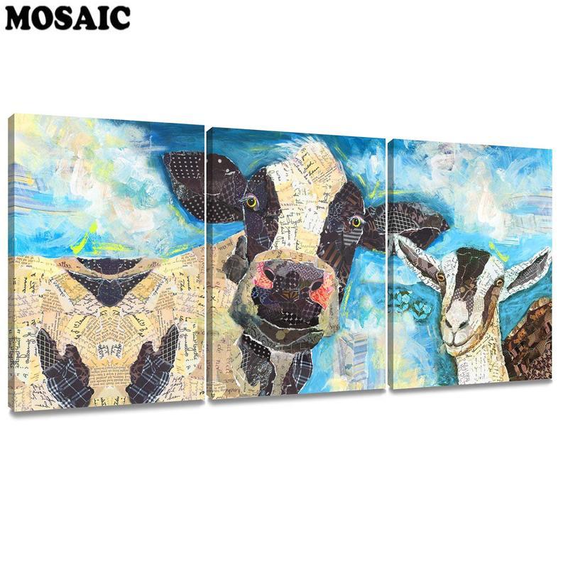 도매 다이아몬드 그림 3pcs / set 추상 푸른 암소 동물 그림 벽 장식 장식 홈 장식 다이아몬드 자수 페인트