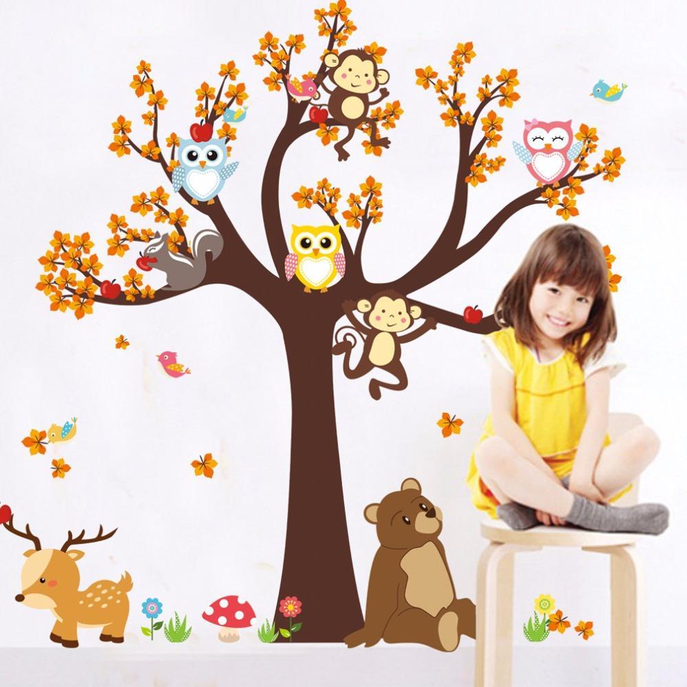 2018 Muro Owls Tree Forest animais originais Giraffe macaco adesivos Mural Decalque Crianças Crianças Playroom Room Decor Mural