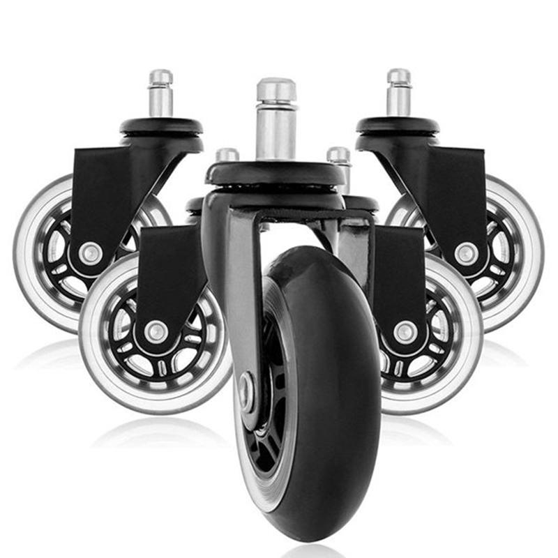 Set of 5 Hardwood Safe 2 Soft Wheel Office Chair Casters w//Brakes