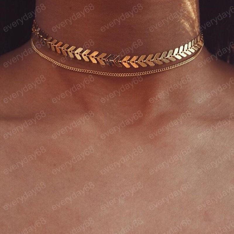 gargantilla collar de las mujeres plana Cadena Gargantilla En Cuello joyería dos capas Collares Collares Fishbone Avión colla