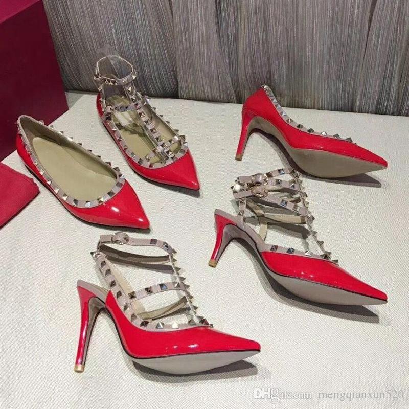 Заклепка сандалии кожа 2019 новый шаблон дизайнера Марка высоких каблуках обувь банкетные Sexy партия пляж Свадебная обувь [Slingback Насосы сандалии]