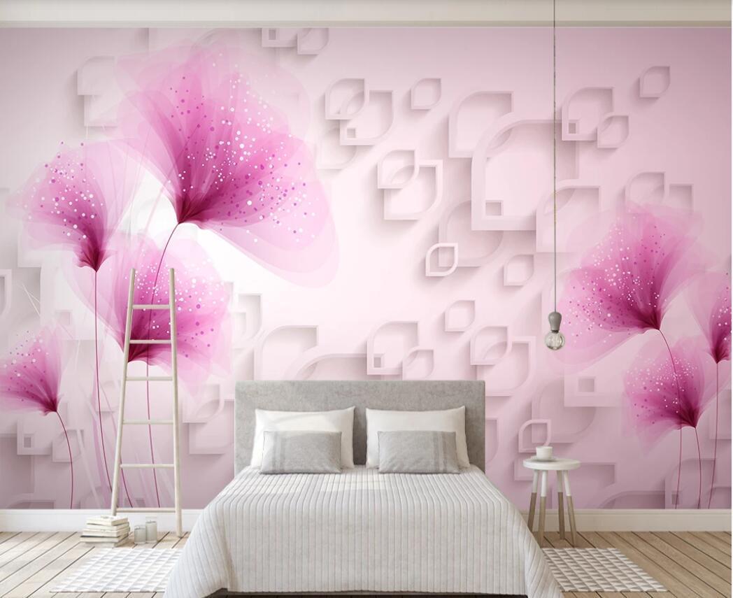3d duvarlar için 3d oda wallpaer özel fotoğraf Fantezi çiçek 3D oturma odası kanepe pembe güzel arka plan duvar TV duvar kağıdı