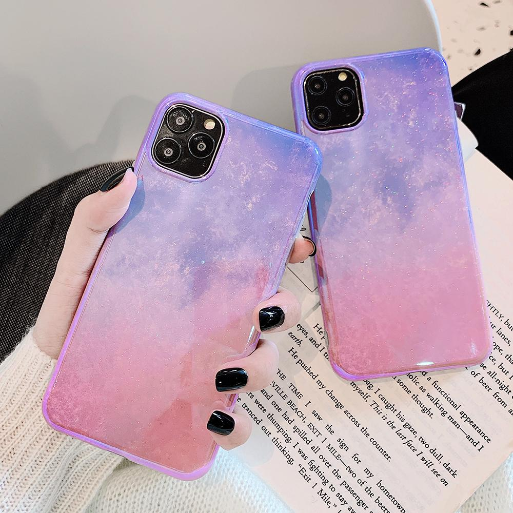 Blue-ray Glitter Phone Case For iPhone 11 Pro Max XR XS Max Soft IMD Glossy Back Cover For iPhone 7 8plus Case Gift