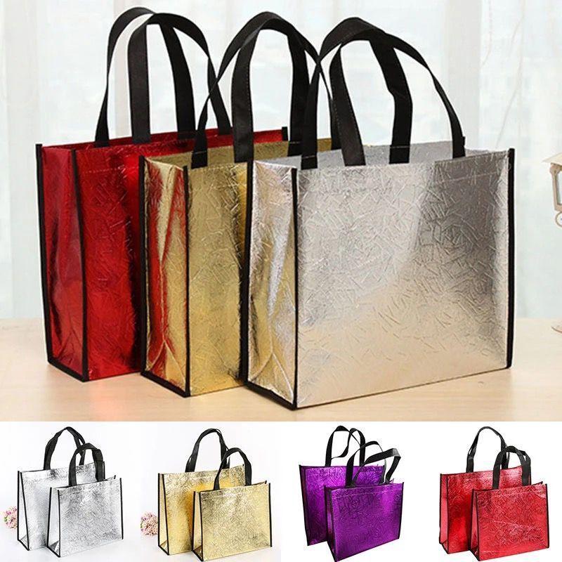 Laser Moda Shopping Bag Dobrável Eco Bag grandes sacos de compras reusáveis Bolsa impermeável não-tecido saco Sem Zipper Hot Sale