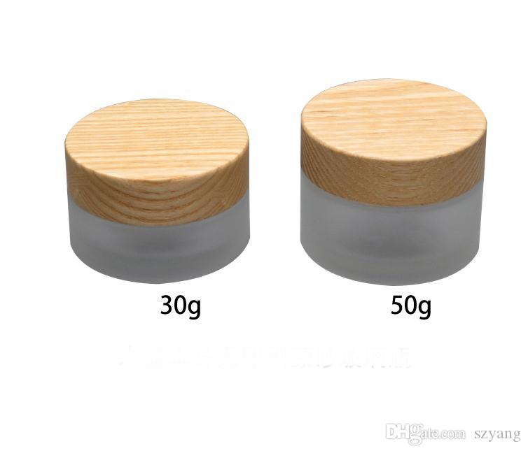 Frosted Glass cream Jar 105pcs*30g 112pcs*50g Wooden Cap Wood Lid Glass Jar Cosmetics Cream Packing Container SN2937