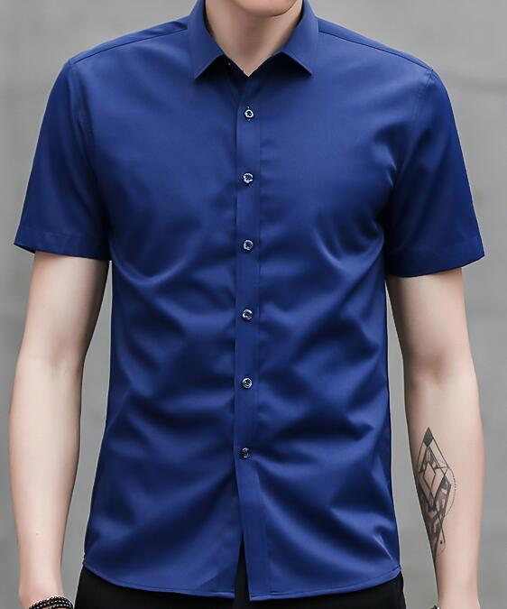 New Design, Men's Short Sleeve Business Shirt, Casual Slim, Solid Color, Black, White, Blue, Pink, Cyan, M-4XL Size.