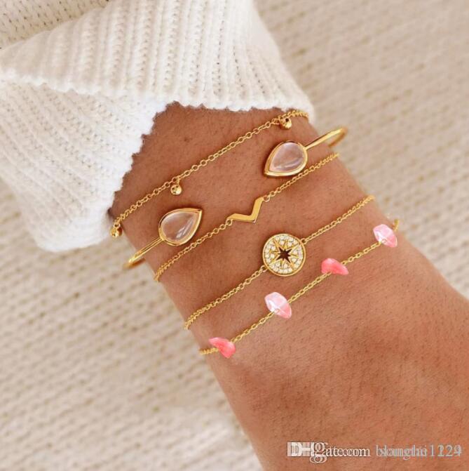 5 teile / satz Stilvolle Multilayer Armbänder für Frauen Geometrische Naturstein Kristall Diamant Charme Kette Armband Neue Mode Bangles Drop Ship