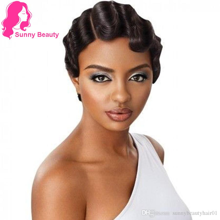 Dedos do estilo de onda curta peruca Retro Pixie Cut 1920 Wig Flapper Penteados para a American Africano Mulheres Virgin Perucas Mommy peruca penteado bonito