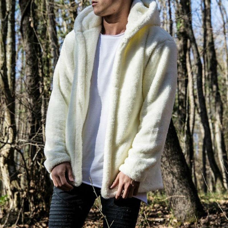 2020 neuester Männer Winter-mit Kapuze Fluffy Mantel Herbst starken warmen Fleece-Jacke Cardigan beiläufige feste Art und Weise Faux-Pelz-Oberseitenoberbekleidungt