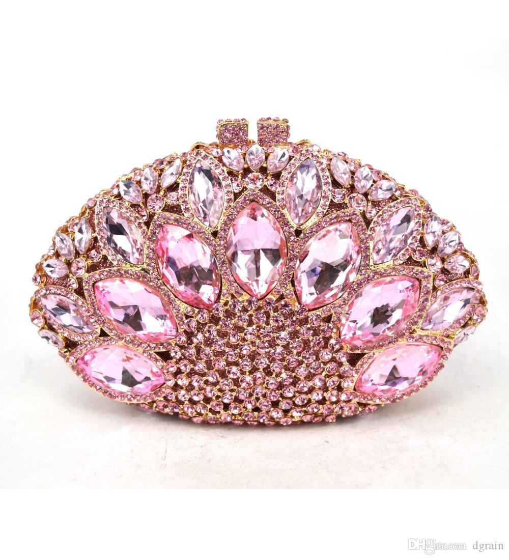 Dgrain Pink Abendtasche Kleine Mode-Feiertags-Party-Kupplungs-Geldbeutel-Kristalltasche Stylish Tageskupplungen Prom Damen Handtasche