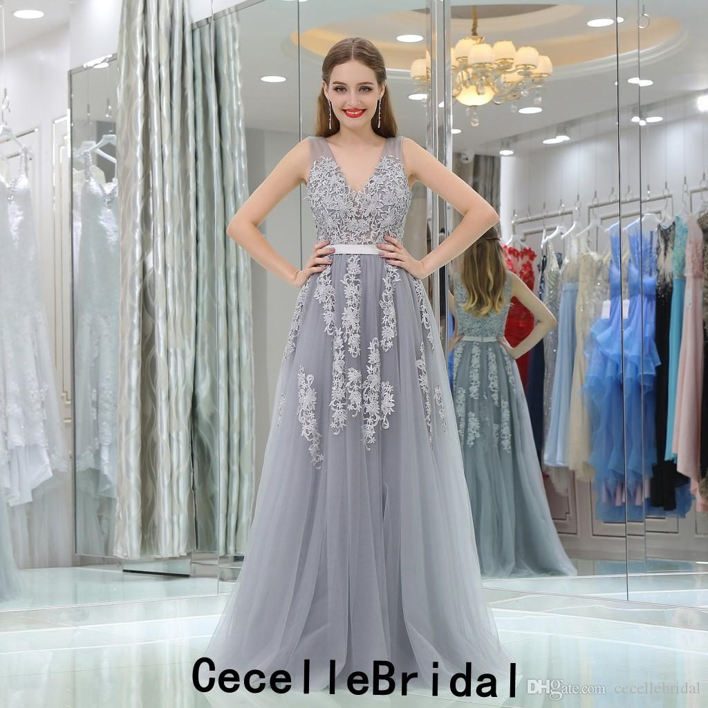 c4e78a0f60f2 Grey Lace Tulle A-line Sexy Long Prom Dress 2019 With Straps V Neck  Illusion ...